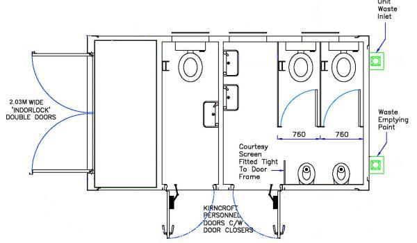 ecoCABIN 2 + 1 toilet block plan